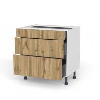 Meuble de cuisine - Casserolier - OKA Chêne - 3 tiroirs - L80 x H70 x P58 cm
