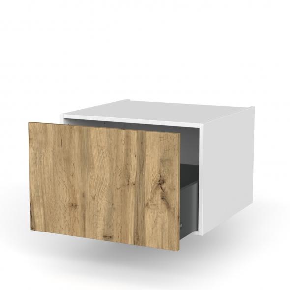 Meuble de cuisine - Bas suspendu - OKA Chêne - 1 casserolier - L60 x H41 x P58 cm