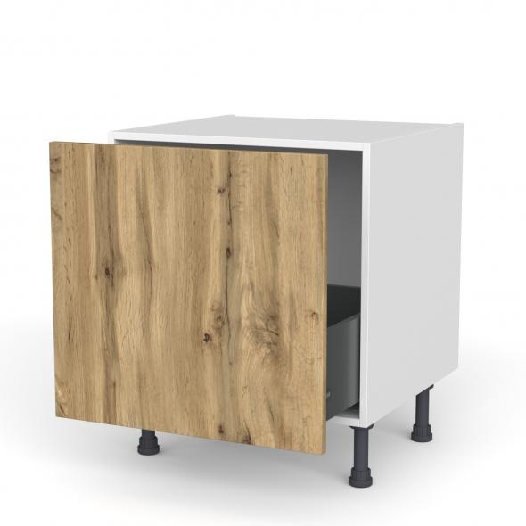 Meuble de cuisine - Bas coulissant - OKA Chêne - 1 porte - L60 x H57 x P58 cm