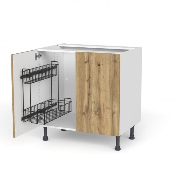 Meuble de cuisine - Sous évier - OKA Chêne - 2 portes lessiviel - L80 x H70 x P58 cm