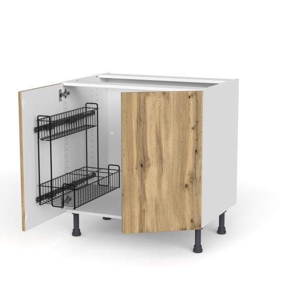 Meuble de cuisine - Sous évier - OKA Chêne - 2 portes lessiviel poubelle ronde - L80 x H70 x P58 cm