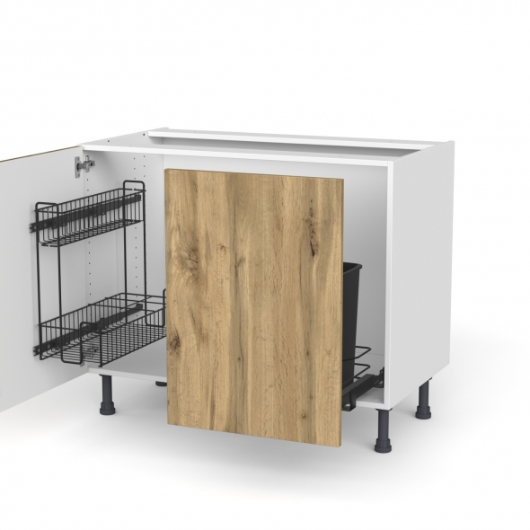Meuble de cuisine - Sous évier - OKA Chêne - 2 portes lessiviel-poubelle coulissante  - L100 x H70 x P58 cm