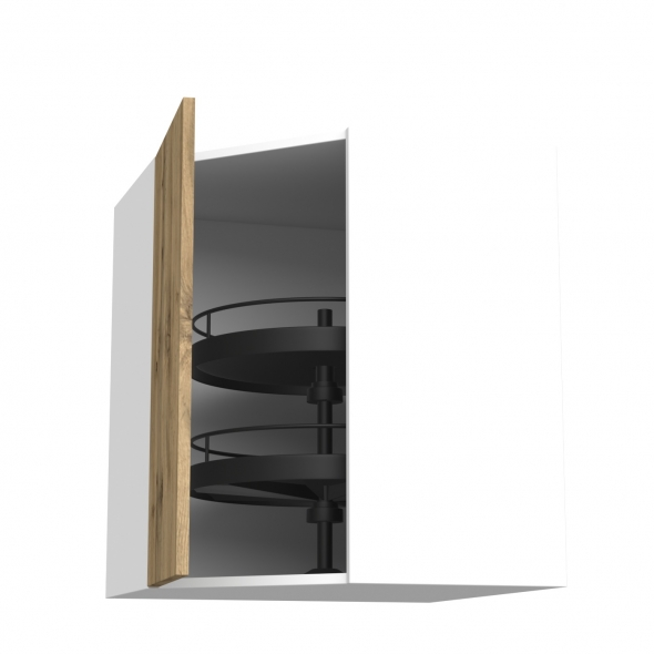 Meuble de cuisine - Angle haut - OKA Chêne - Tourniquet 1 porte N°19 L40 cm - L65 x H70 x P37 cm