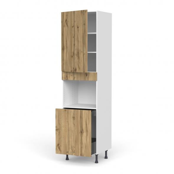 Colonne de cuisine N°2416 - Four encastrable niche 60 - OKA Chêne - 1 porte 1 porte coulissante - L60 x H217 x P58 cm