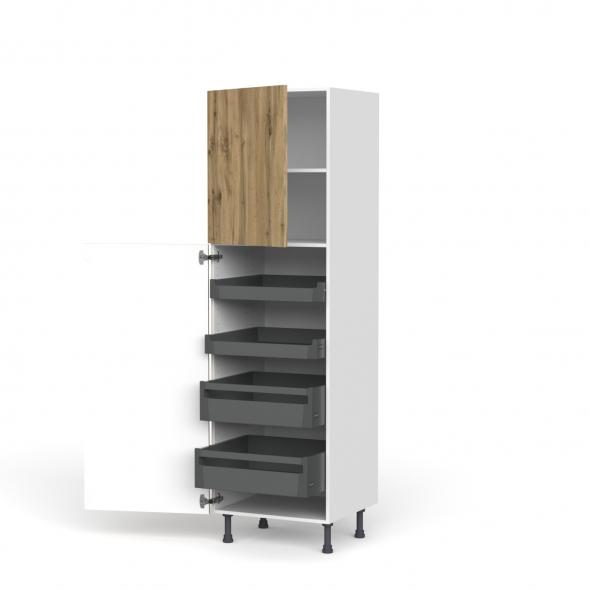 Colonne de cuisine N°2127 - Armoire de rangement - OKA Chêne - 4 tiroirs à l'anglaise - L60 x H195 x P58 cm