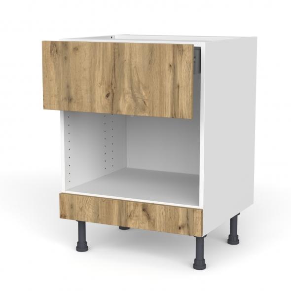Meuble de cuisine - Bas MO encastrable niche 45 - OKA Chêne - 1 tiroir haut - L60 x H70 x P58 cm