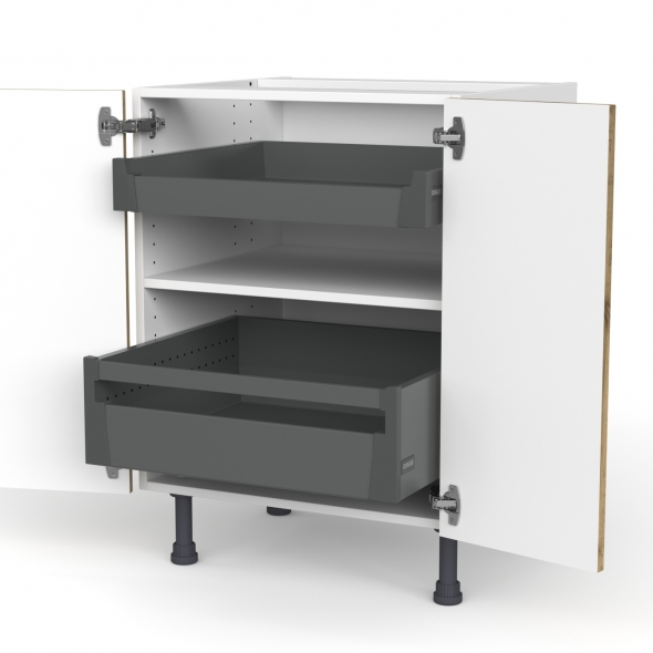 Meuble de cuisine - Bas - OKA Chêne - 2 portes 2 tiroirs à l'anglaise - L60 x H70 x P58 cm