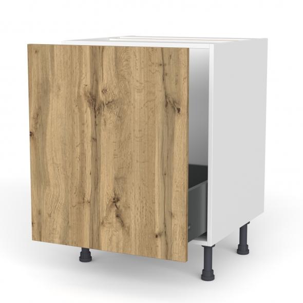 Meuble de cuisine - Sous évier - OKA Chêne - 1 porte coulissante - L60 x H70 x P58 cm