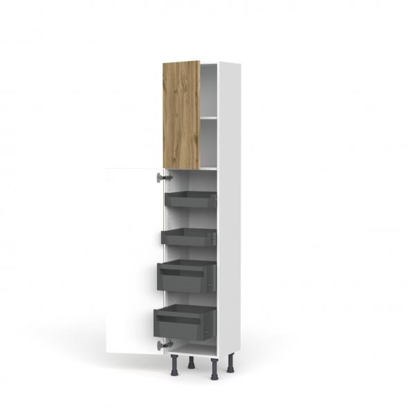 Colonne de cuisine N°1926 - Armoire de rangement - OKA Chêne - 4 tiroirs à l'anglaise - L40 x H195 x P37 cm