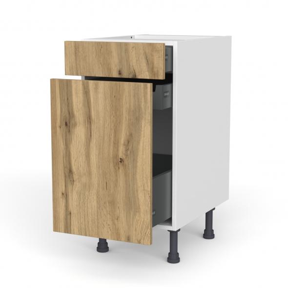 Meuble de cuisine - Range épice - OKA Chêne - 3 tiroirs - L40 x H70 x P58 cm