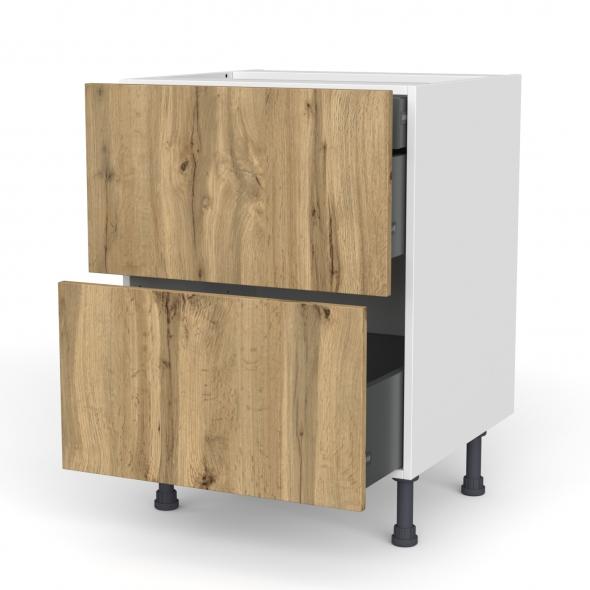 Meuble de cuisine - Casserolier - OKA Chêne - 2 tiroirs 1 tiroir à l'anglaise - L60 x H70 x P58 cm
