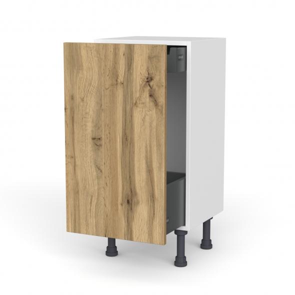 Meuble de cuisine - Bas coulissant - OKA Chêne - 1 porte 1 tiroir à l'anglaise - L40 x H70 x P37 cm