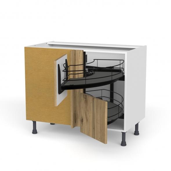 Meuble de cuisine - Angle bas - OKA Chêne - Demi lune coulissant EPOXY - Tirant droit 2 tiroirs L40 cm  - L80 x H70 x P58 cm