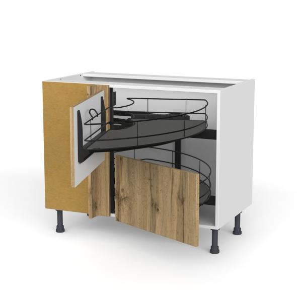 Meuble de cuisine - Angle bas - OKA Chêne - Demi lune coulissant EPOXY- Tirant droit 2 tiroirs L60 cm  - L100 x H70 x P58 cm