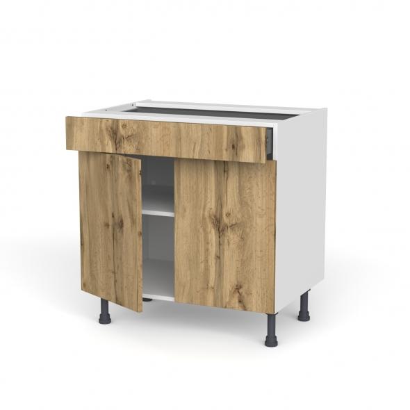Meuble de cuisine - Bas - OKA Chêne - 2 portes 1 tiroir - L80 x H70 x P58 cm