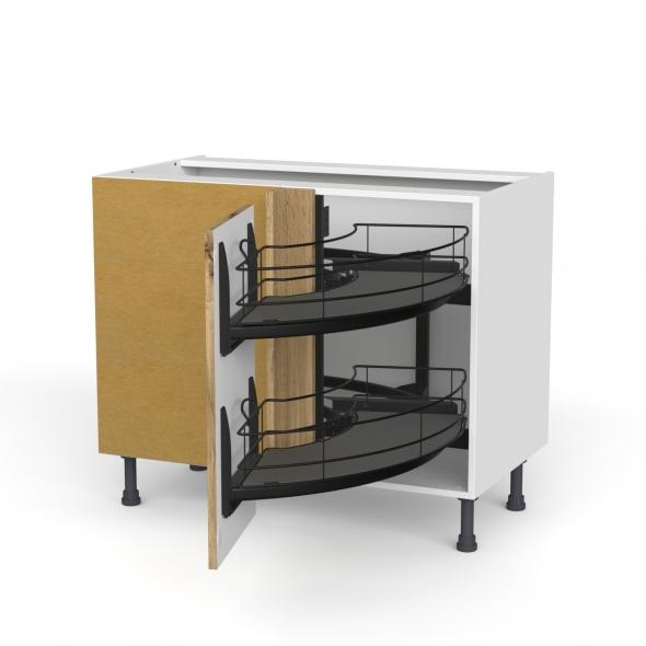Meuble de cuisine - Angle bas - OKA Chêne - Demi lune coulissant EPOXY - Tirant droit 1 porte L40 cm - L80 x H70 x P58 cm