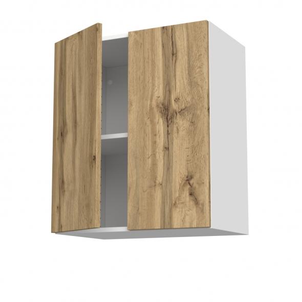 Meuble de cuisine - Sur hotte - Pour hotte encastrable - Haut ouvrant - OKA Chêne - 2 portes - L60 x H70 x P37 cm