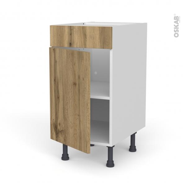 Meuble de cuisine - Bas - Faux tiroir haut - OKA Chêne - 1 porte  - L40 x H70 x P58 cm