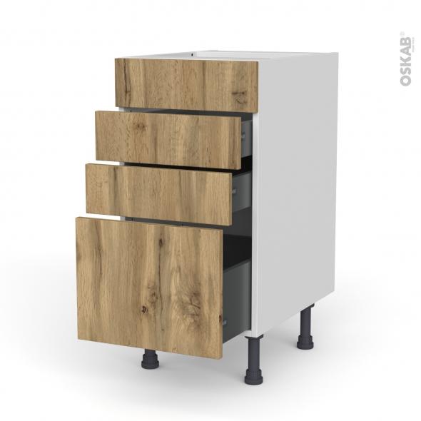Meuble de cuisine - Casserolier - Faux tiroir haut - OKA Chêne - 3 tiroirs - L40 x H70 x P58 cm
