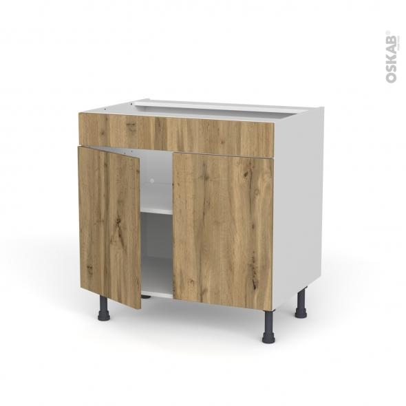 Meuble de cuisine - Bas - Faux tiroir haut - OKA Chêne - 2 portes - L80 x H70 x P58 cm