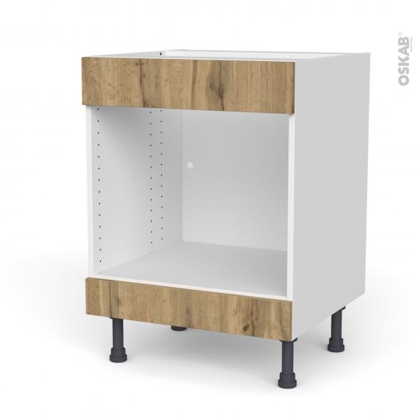 Meuble de cuisine - Bas MO encastrable niche 45 - Faux tiroir haut - OKA Chêne - L60 x H70 x P58 cm