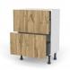 Meuble de cuisine - Casserolier - OKA Chêne - 2 tiroirs - L60 x H70 x P37 cm