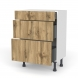 Meuble de cuisine - Bas - OKA Chêne - 3 tiroirs - L60 x H70 x P37 cm
