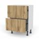 Meuble de cuisine - Casserolier - OKA Chêne - 2 tiroirs 1 tiroir à l'anglaise - L60 x H70 x P37 cm