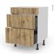 Meuble de cuisine - Casserolier - Faux tiroir haut - OKA Chêne - 2 tiroirs - L60 x H70 x P58 cm
