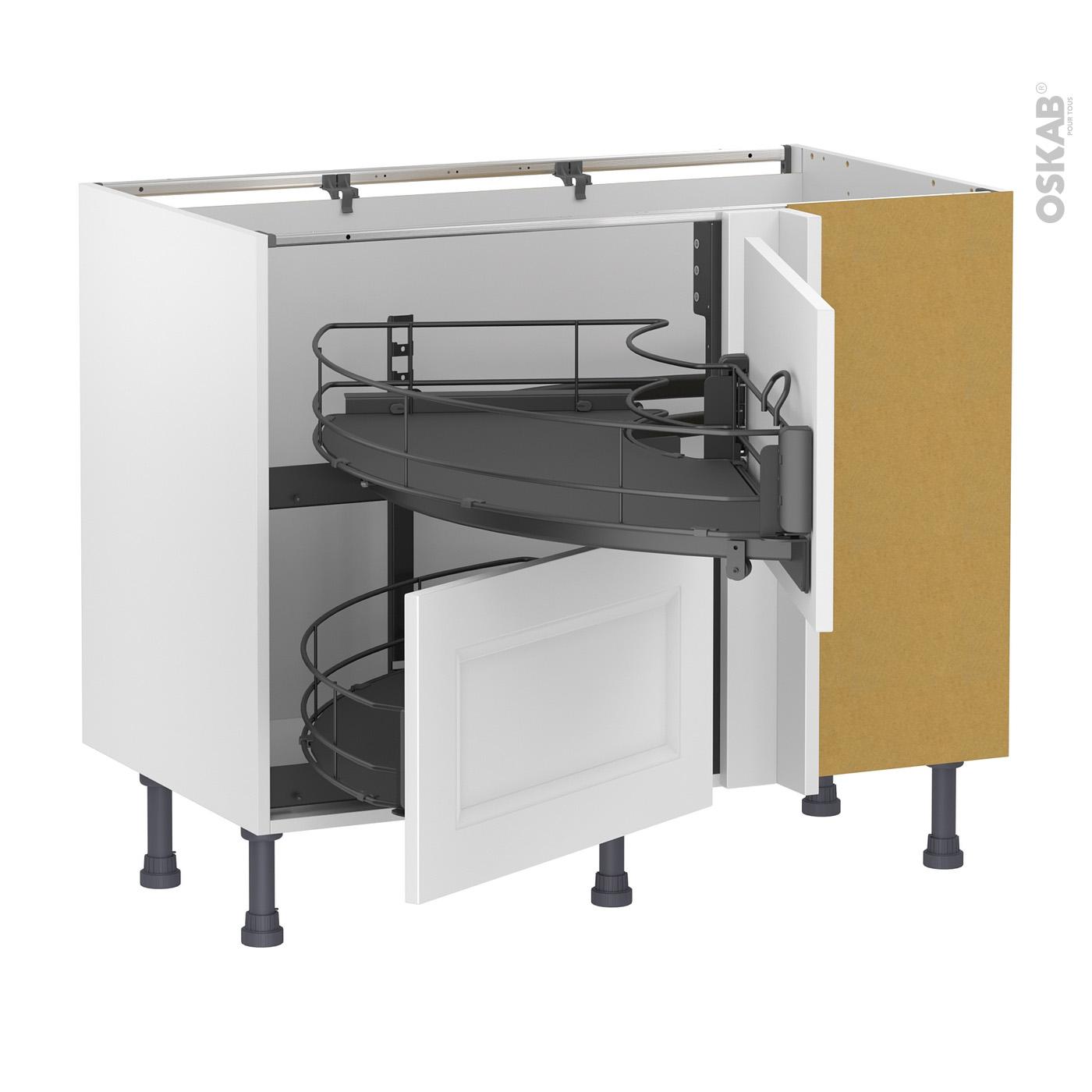 Cuisine Avec Plan De Travail Coulissant meuble de cuisine angle bas static blanc, demi lune coulissant epoxy-  tirant droit 2 tiroirs l60 cm , l100 x h70 x p58 cm