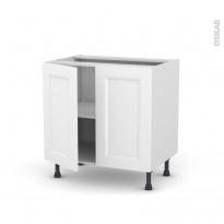 Meuble de cuisine - Bas - STATIC Blanc - 2 portes - L80 x H70 x P58 cm