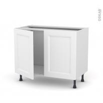Meuble de cuisine - Sous évier - STATIC Blanc - 2 portes - L100 x H70 x P58 cm
