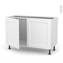Meuble de cuisine - Sous évier - STATIC Blanc - 2 portes - L120 x H70 x P58 cm
