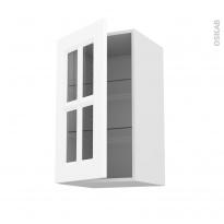 Meuble de cuisine - Haut ouvrant vitré - STATIC Blanc - 1 porte - L40 x H70 x P37 cm