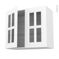 Meuble de cuisine - Haut ouvrant vitré - STATIC Blanc - 2 portes - L80 x H70 x P37 cm