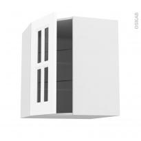 Meuble de cuisine - Angle haut vitré - STATIC Blanc - 1 porte N°83 L40 cm - L65 x H70 x P37 cm