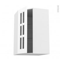 Meuble de cuisine - Angle haut vitré - STATIC Blanc - 1 porte n°84 L40 cm - L65 x H92 x P37 cm