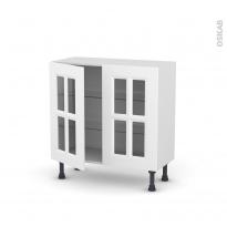 Meuble de cuisine - Bas vitré - STATIC Blanc - 2 portes - L80 x H70 x P37 cm