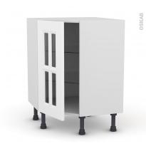 Meuble de cuisine - Angle bas vitré - STATIC Blanc - 1 porte n°83 L40 cm - L65 x H70 x P37cm