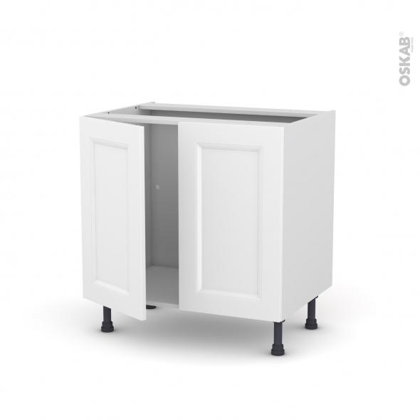 Meuble de cuisine - Sous évier - STATIC Blanc - 2 portes - L80 x H70 x P58 cm
