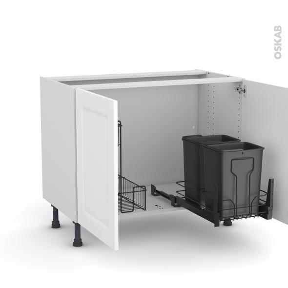 Meuble de cuisine - Sous évier - STATIC Blanc - 2 portes lessiviel-poubelle coulissante  - L100 x H70 x P58 cm