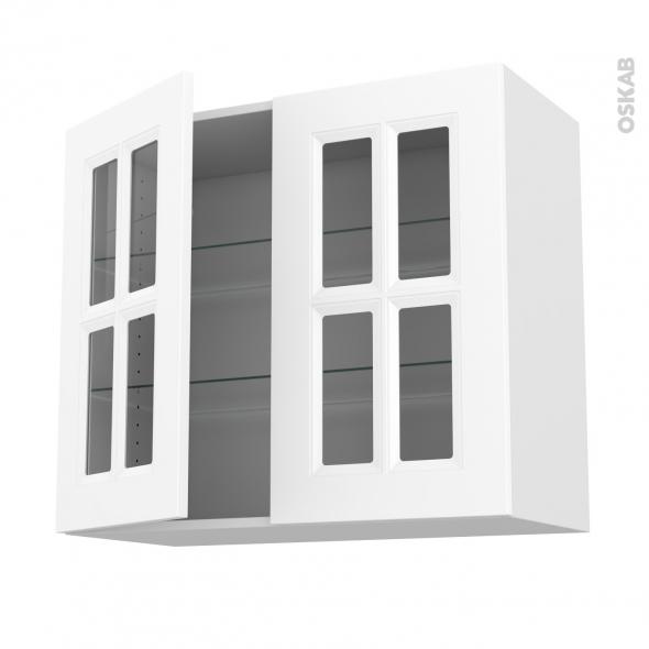 Meuble de cuisine Haut ouvrant vitré STATIC Blanc, 2 portes, L80 x H70 x  P37 cm