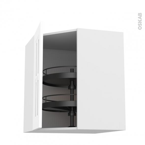 Meuble de cuisine - Angle haut vitré - STATIC Blanc - Tourniquet 1 porte N°83 L40 cm - L65 x H70 x P37 cm