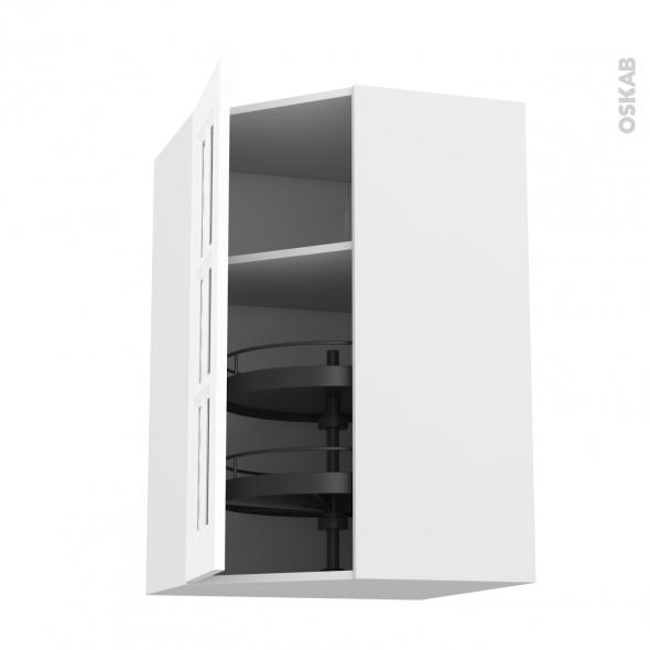 Meuble de cuisine - Angle haut vitré - STATIC Blanc - Tourniquet 1 porte n°84 L40 cm - L65 x H92 x P37 cm