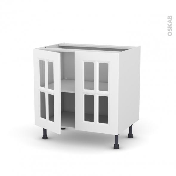 Meuble de cuisine - Bas vitré - STATIC Blanc - 2 portes - L80 x H70 x P58 cm