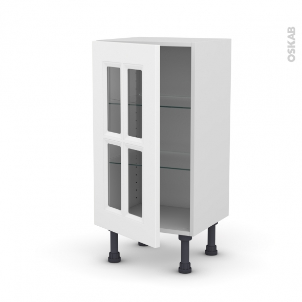 Meuble de cuisine - Bas vitré - STATIC Blanc - 1 porte - L40 x H70 x P37 cm