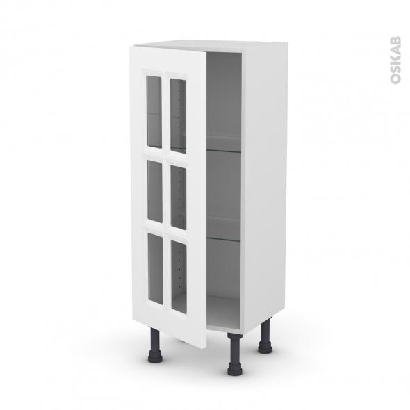 Meuble de cuisine - Bas vitré - STATIC Blanc - 1 porte - L40 x H92 x P37 cm