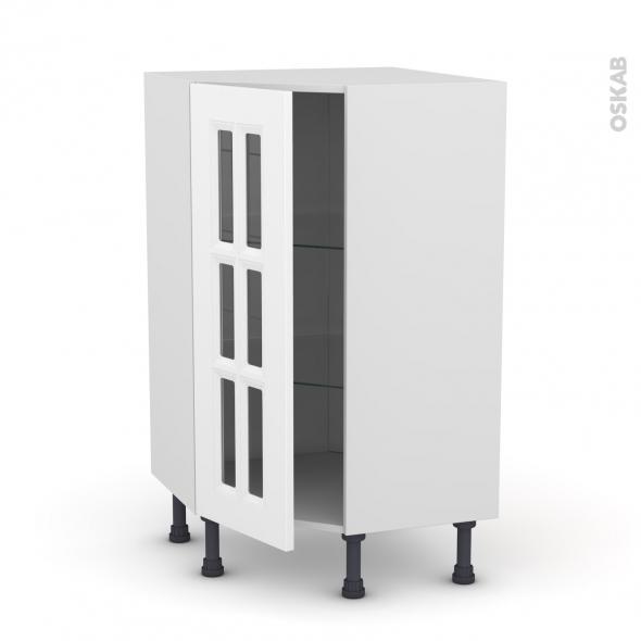 Meuble de cuisine - Angle bas vitré - STATIC Blanc - 1 porte n°84 L40 cm - L65 x H92 x P37cm