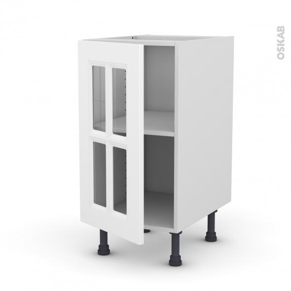 Meuble de cuisine - Bas vitré - STATIC Blanc - 1 porte - L40 x H70 x P58 cm