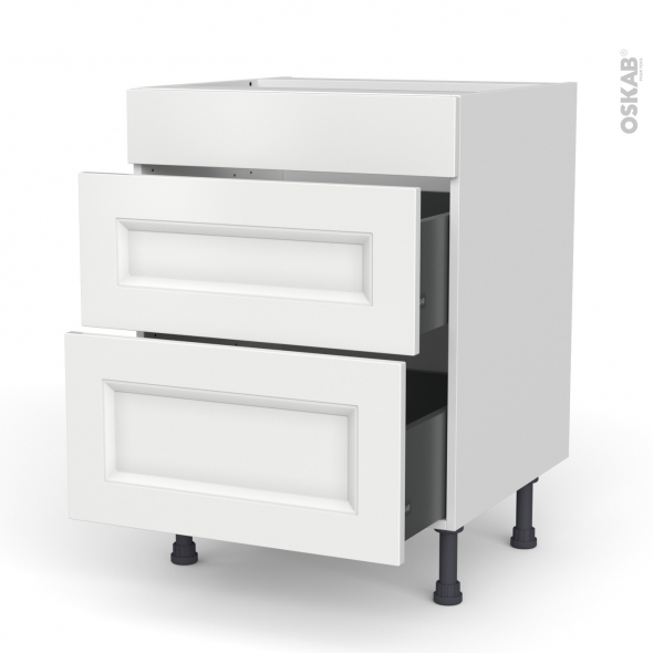 Meuble de cuisine - Casserolier - Faux tiroir haut - STATIC Blanc - 2 tiroirs - L60 x H70 x P58 cm
